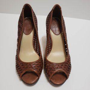 Cole Haan Brown Weave Detail Peep Toe Pumps, sz 5